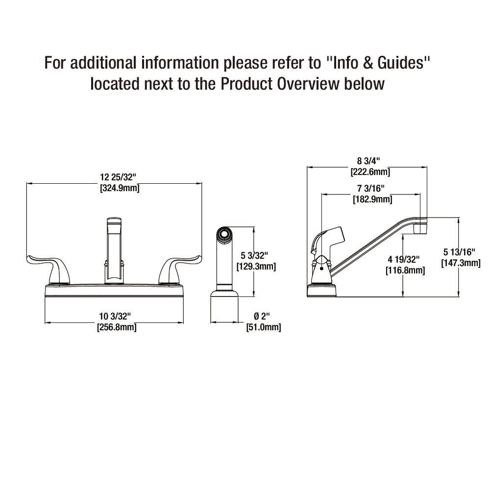 Glacier Bay Constructor 2-Handle Standard Kitchen Faucet Side Sprayer in Chrome