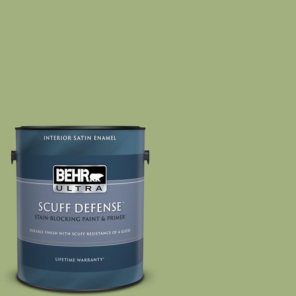 Behr Ultra 1 Gal M360 5 Fresh Guacamole Extra Durable Satin Enamel Interior Paint Primer 775401 The Home Depot