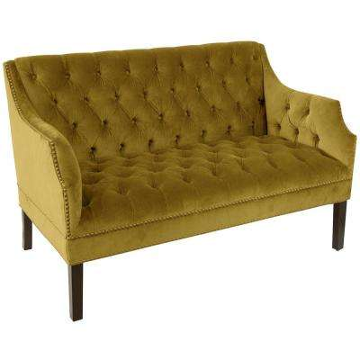 Regal Palm Diamond Tufted Nail Button Settee