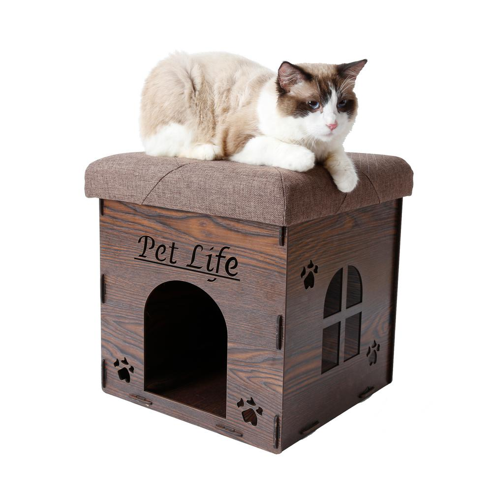 Dark Wood Foldaway Collapsible Designer Cat House Furniture Bench