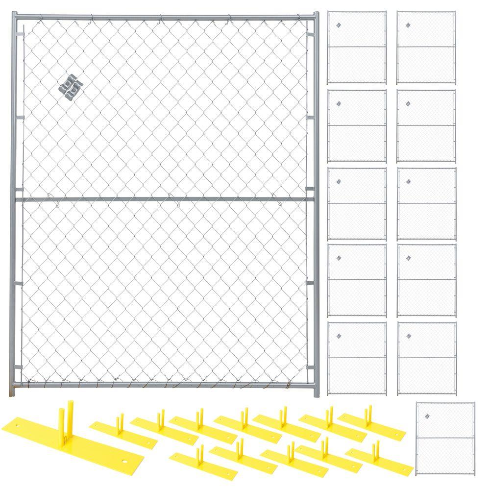 6 ft. x 60 ft. 12-Panel Powder-Coated Chain Link Temporary Fencing
