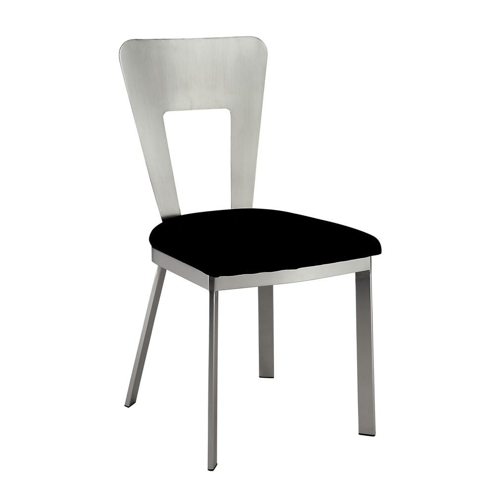 Nova Contemporary Silver and Black Side Chair with Black Micro Fabric Seat (Set of 2)