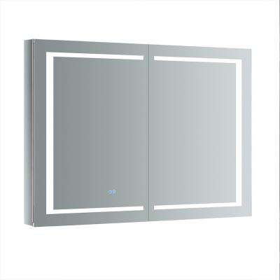 Spazio 48 in. W x 36 in. H Recessed or Surface Mount Medicine Cabinet with LED Lighting and Mirror Defogger