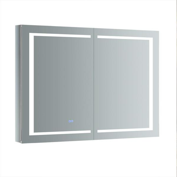 Fresca Spazio 48 In W X 36 In H Recessed Or Surface Mount Medicine Cabinet With Led Lighting And Mirror Defogger Fmc024836 The Home Depot