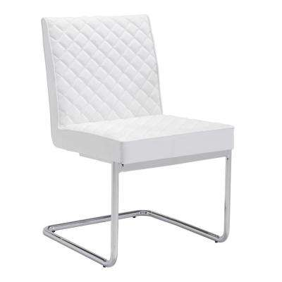 Quilt White Leatherette Dining Chair