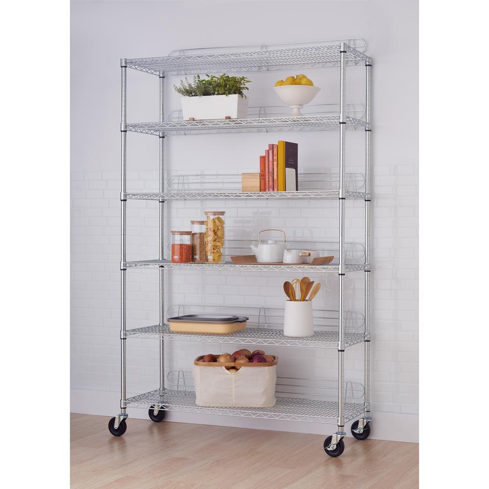 77 in. x 48 in. x 18 in. 6-Tier Wire Shelving Rack with Wheels in ...