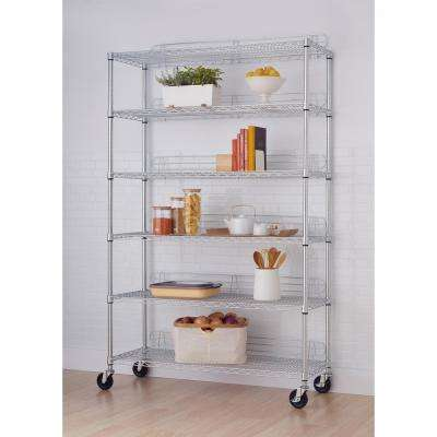 77 in. x 48 in. x 18 in. 6-Tier Wire Shelving Rack with Wheels in Chrome