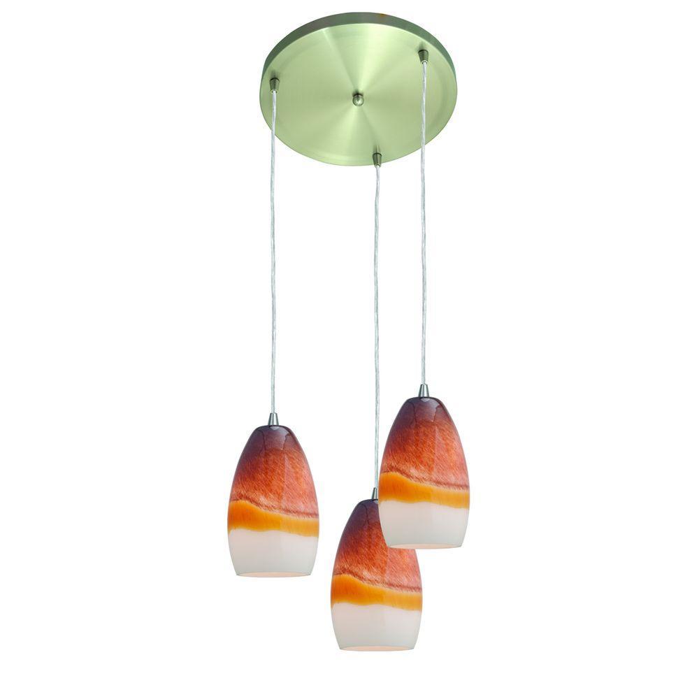 Access Lighting 3 Light Pendant Silver Terra Glass-DISCONTINUED