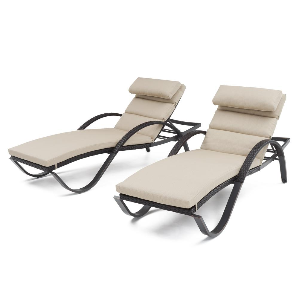 Deco Patio Chaise Lounge with Slate Grey Cushion and Attached Pillow