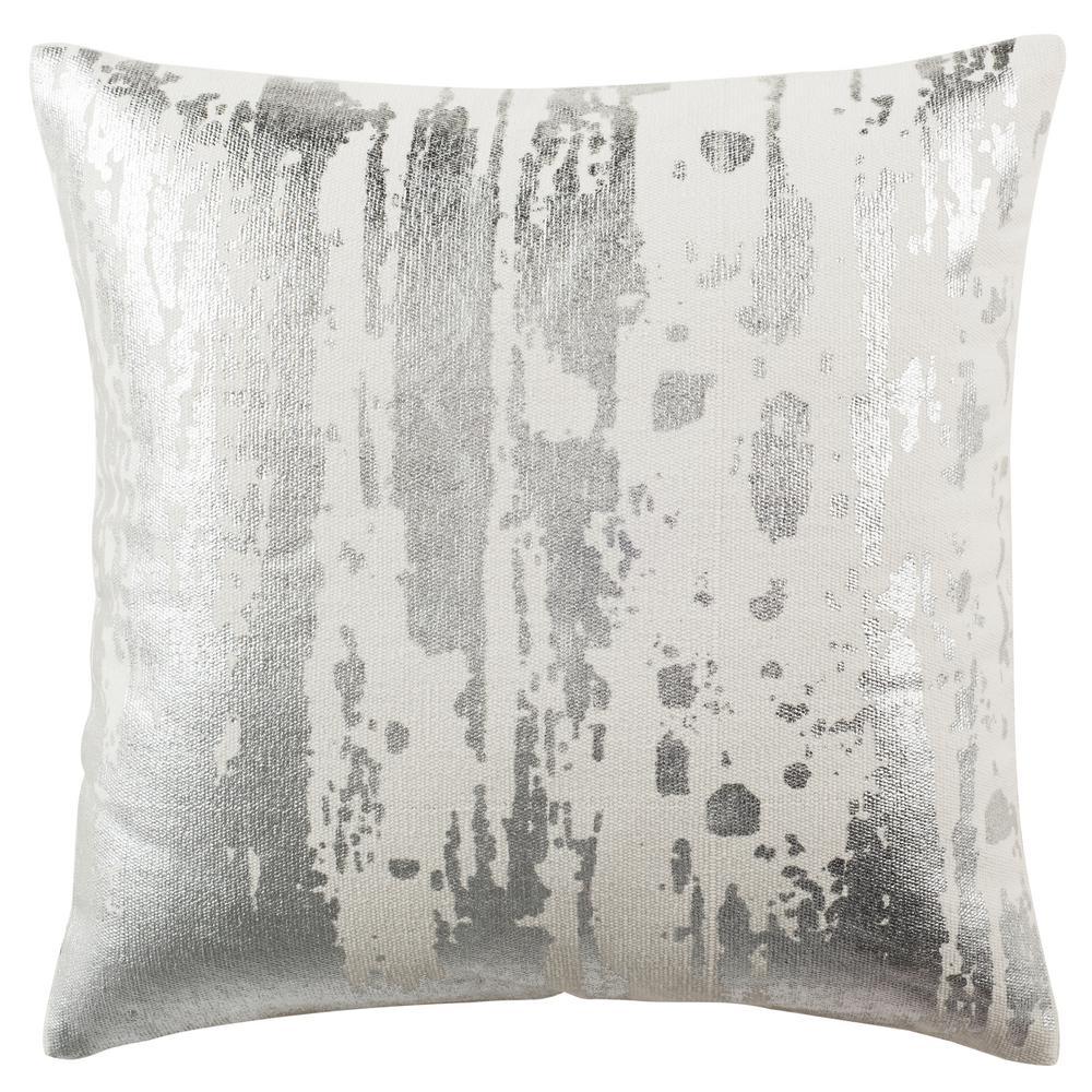 Metallic Splatter White Striped Down Alternative 20 in. x 20 in. Throw Pillow