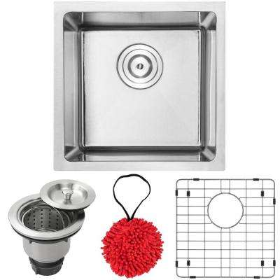 Arlo Undermount 18-Gauge Stainless Steel 16 in. Single Bowl Kitchen and Bar Sink with Accessory Kit