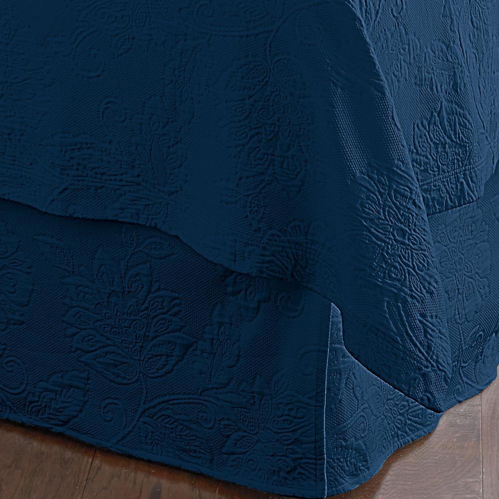 Putnam Matelasse Navy King Bed Skirt
