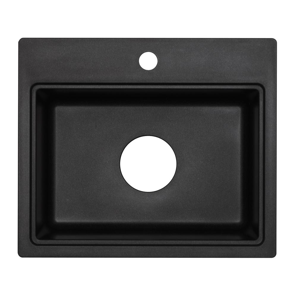 Astracast Dual Mount Granite Composite 20 In 1 Hole Bar Sink Metallic Black