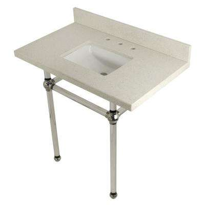 Square Sink Washstand 36 in. Console Table in White Quartz with Acrylic Legs in Polished Nickel