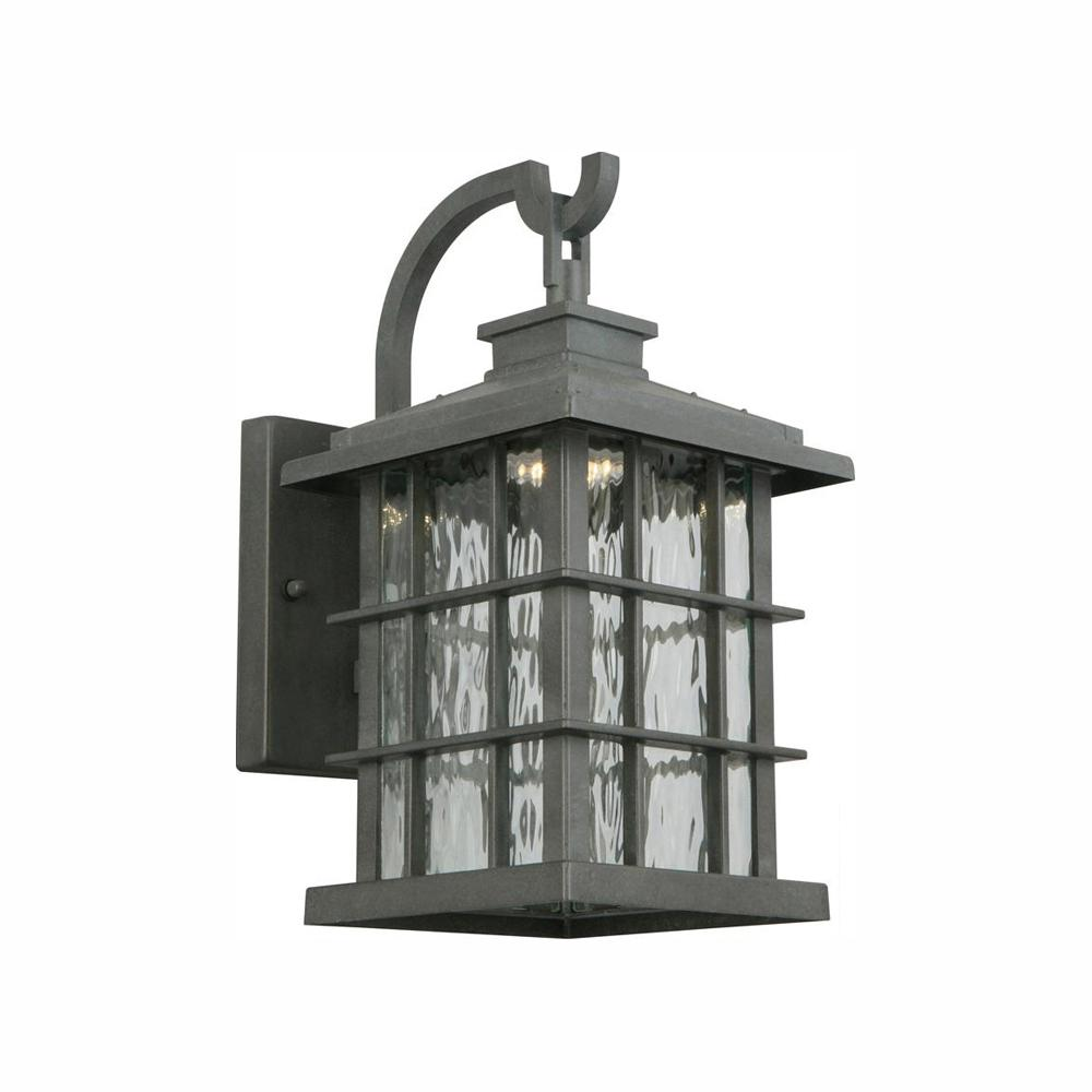 Home Decorators Collection Summit Ridge Collection Zinc Outdoor Integrated LED Dusk-to-Dawn Wall Lantern Sconce