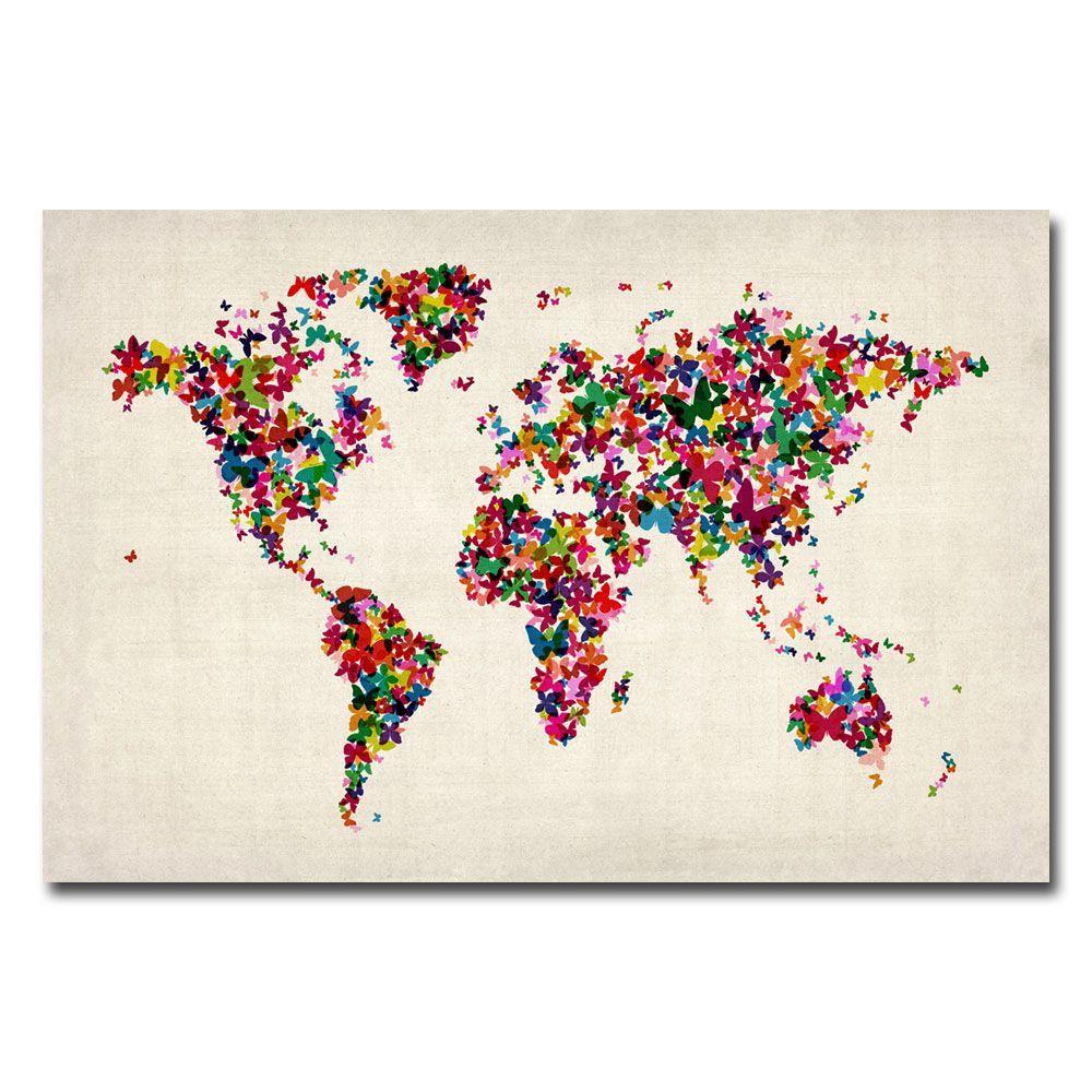22 in. x 32 in. Butterflies World Map Canvas Art