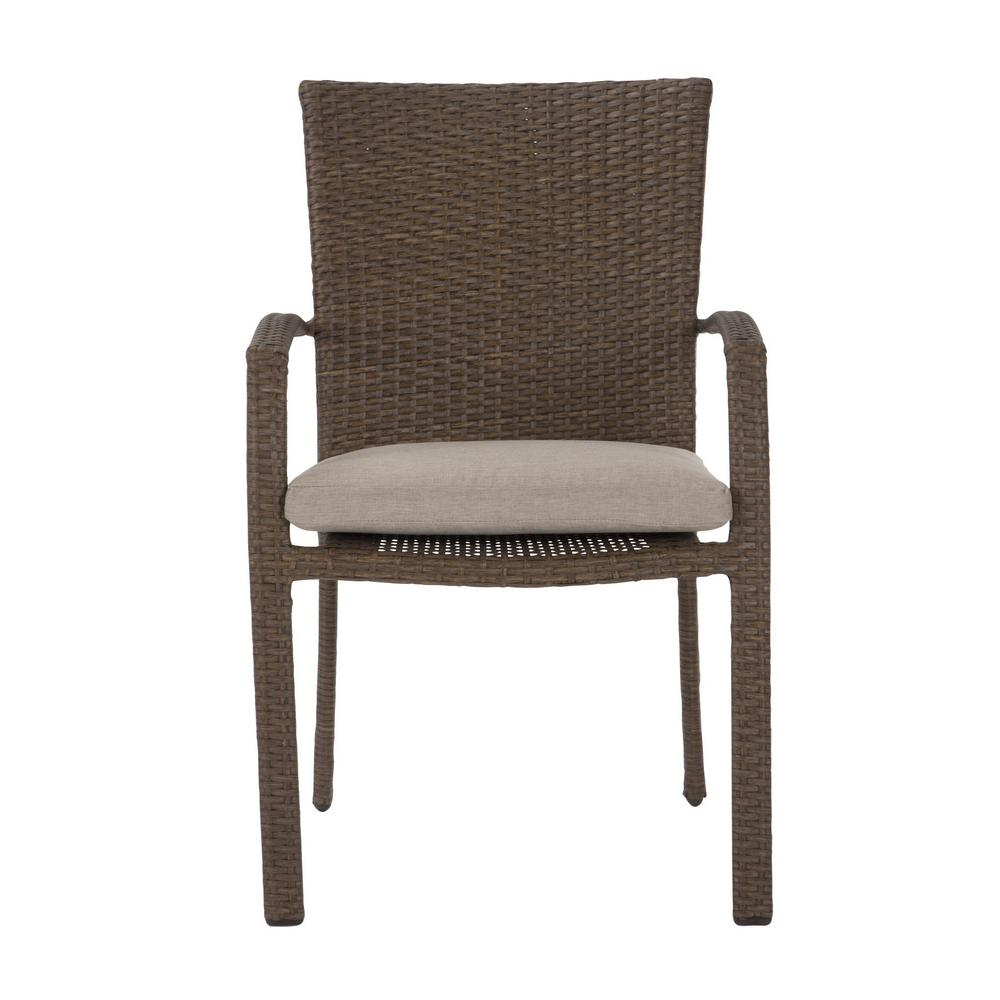 Cosco Lakewood Ranch Brown Steel Woven Wicker Intellifit Outdoor Patio Dining Chairs With Tan Cushions Set Of 6