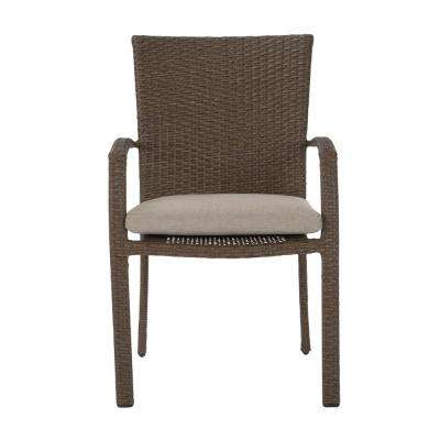 Lakewood Ranch Brown Steel Woven Wicker Intellifit Outdoor Patio Dining Chairs with Tan Cushions (Set of 6)