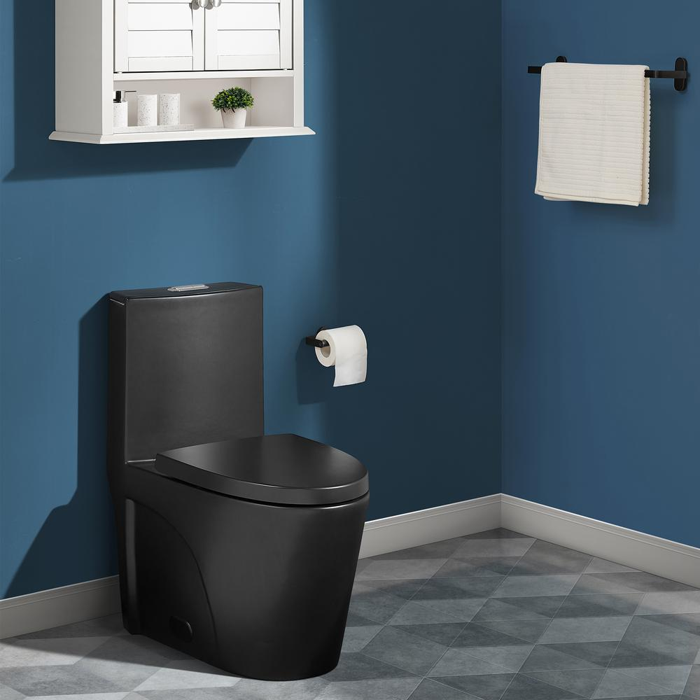 Swiss Madison St. Tropez 1-Piece 0.8 GPF/1.28 GPF Dual Flush Elongated Toilet in Matte Black Seat Included