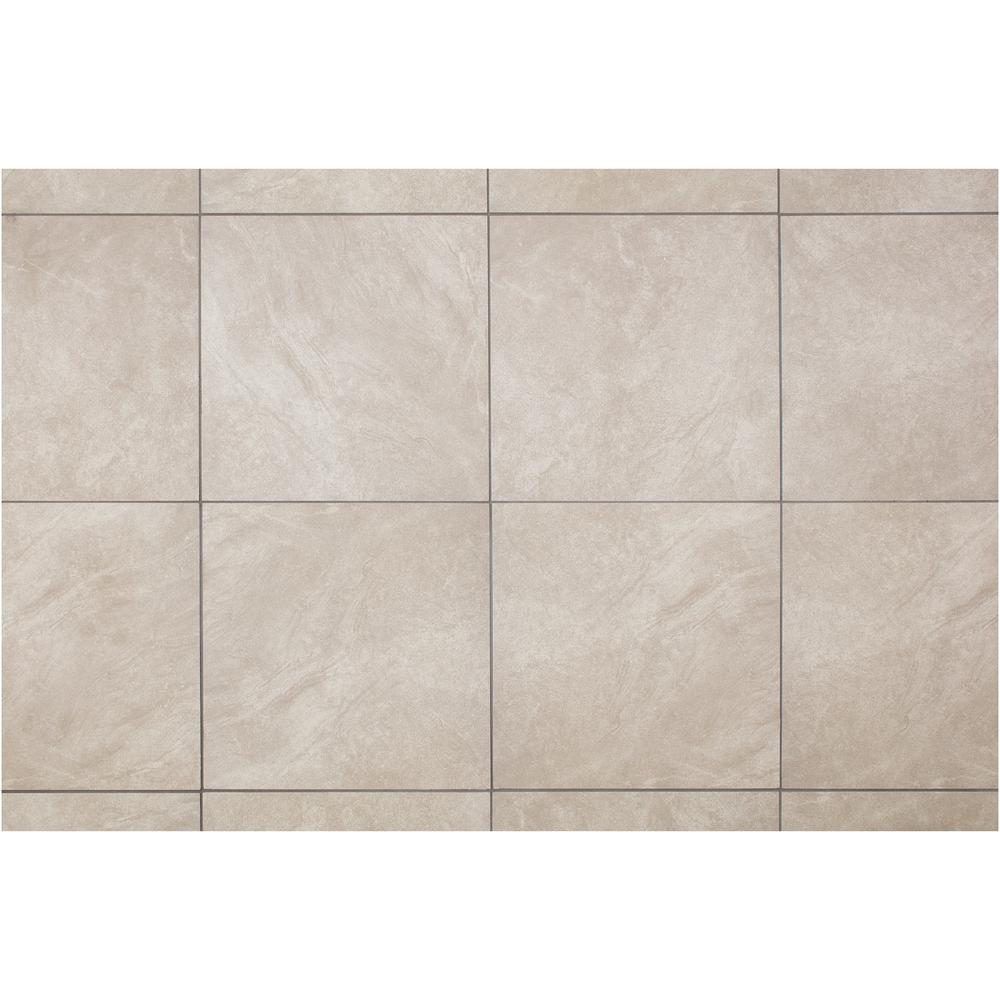 Trafficmaster Portland Stone Gray 18 In X Glazed Ceramic Floor And Wall Tile 17 44 Sq Ft Case