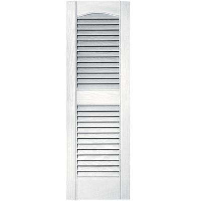 12 in. x 36 in. Louvered Vinyl Exterior Shutters Pair in #001 White