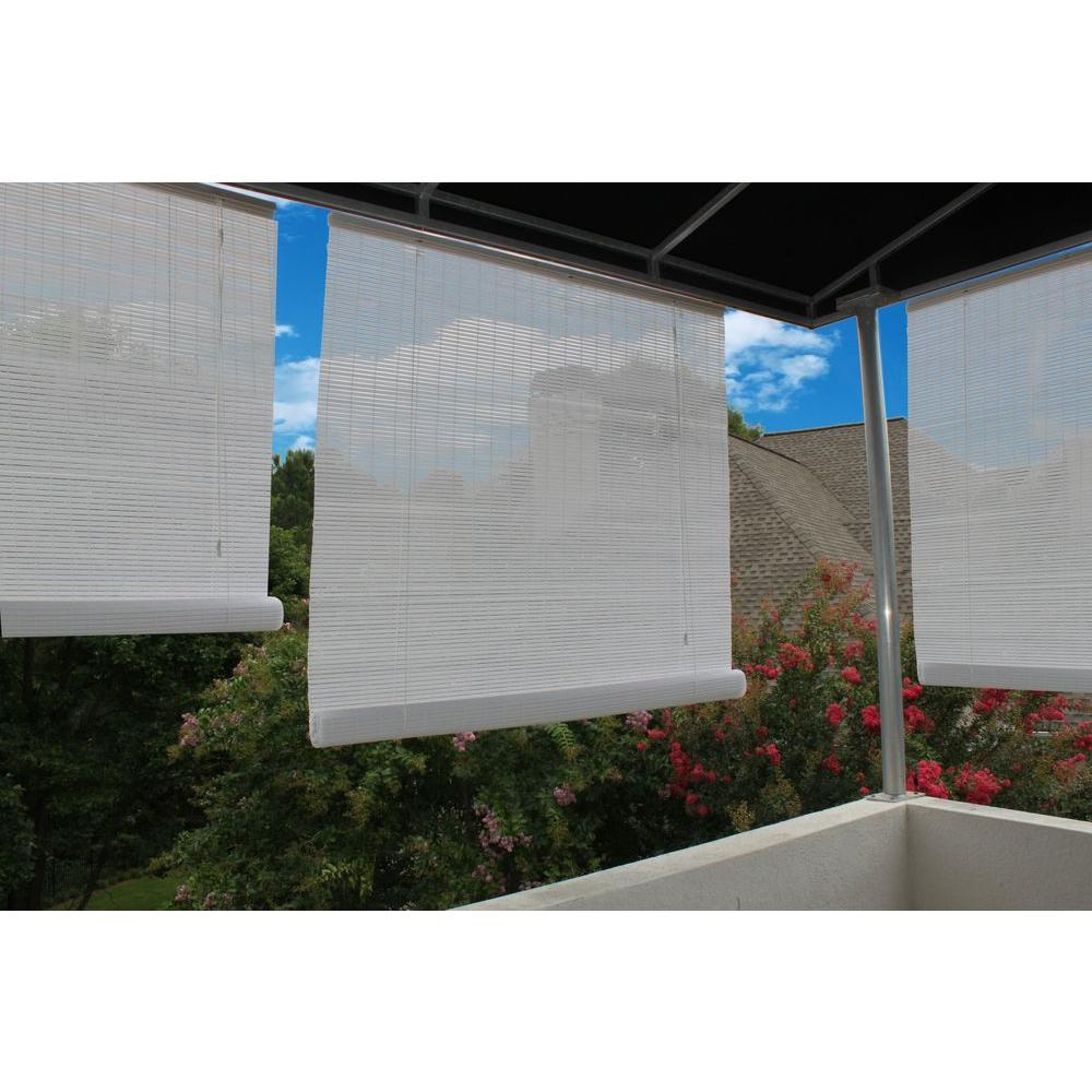96 In W X 72 In L White Exterior Roll Up Patio Sun Shade