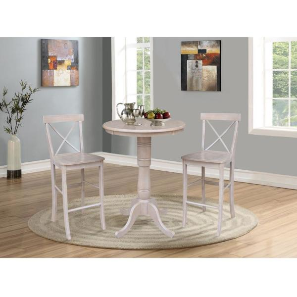 3-Piece Set Weathered Taupe Gray Bar height Pedestal Table and 2 Alexa Armless Bar Stools