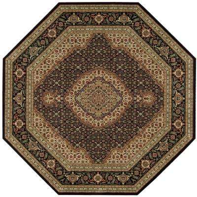 Persian Arts Black 5 ft. 3 in. x 5 ft. 3 in. Octagon Area Rug