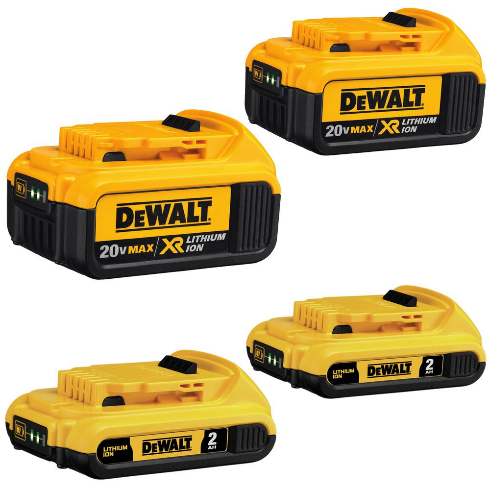 DEWALT 20-Volt MAX Lithium-Ion Battery Pack 2.0Ah (2-Pack) and 4.0Ah (2-Pack)