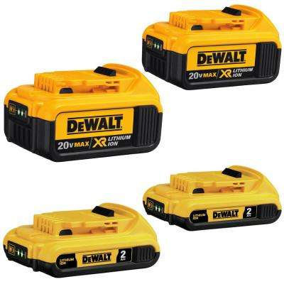 20-Volt MAX Lithium-Ion Battery Pack 2.0Ah (2-Pack) and 4.0Ah (2-Pack)