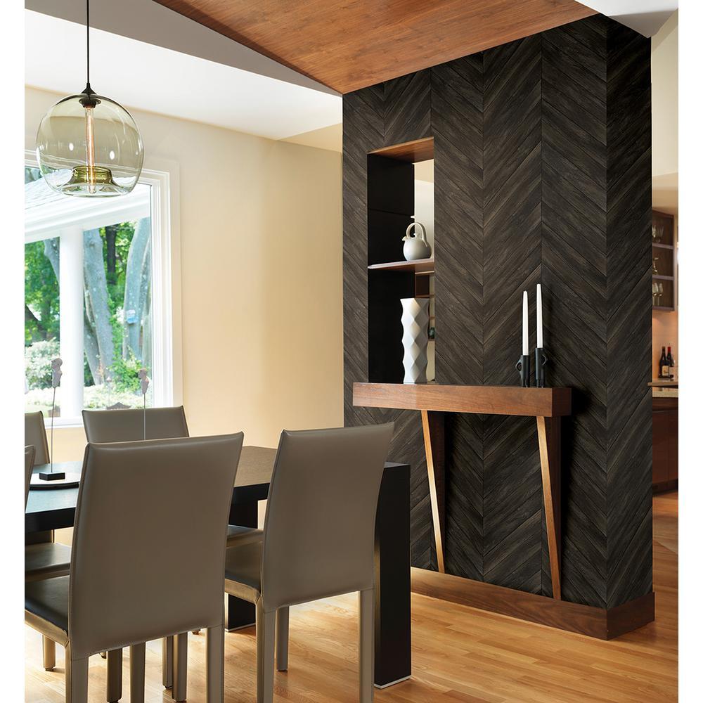 56.4  sq. ft. Parisian Dark Brown Parquet Wallpaper
