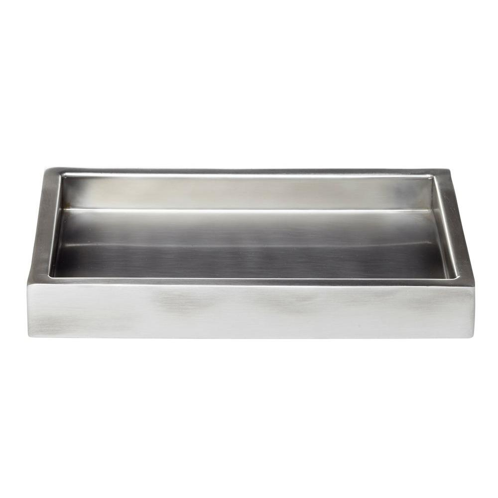 Roselli Trading Company Modern Satin 9 in. Amenity Tray in Stainless Steel