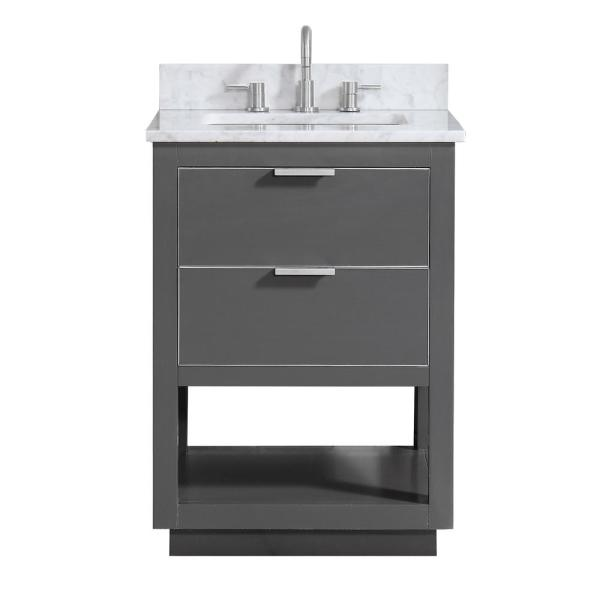 Allie 25 in. W x 22 in. D Bath Vanity in Gray with Silver Trim with Marble Vanity Top in Carrara White with Basin
