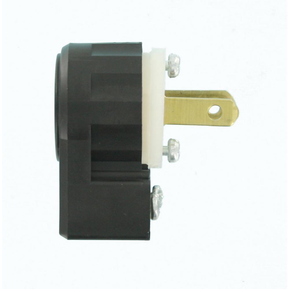 Leviton 15 Amp 125 Volt Non Grounding Straight Blade Plug Industrial Grade Midget Angle Black White Ms2 Ap The Home Depot