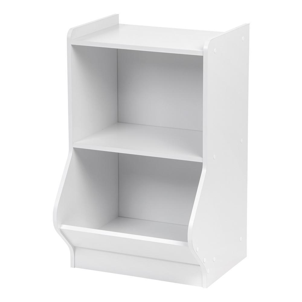 White 2-Tier Storage Organizer Shelf with Footboard