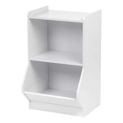White 2-Tier Storage Organizer Shelf with Footboard