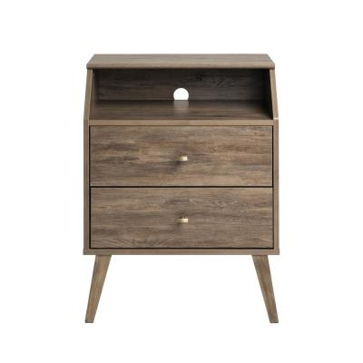 Milo Mid Century Modern Drifted Gray 2-Drawer Nightstand with Angled Top