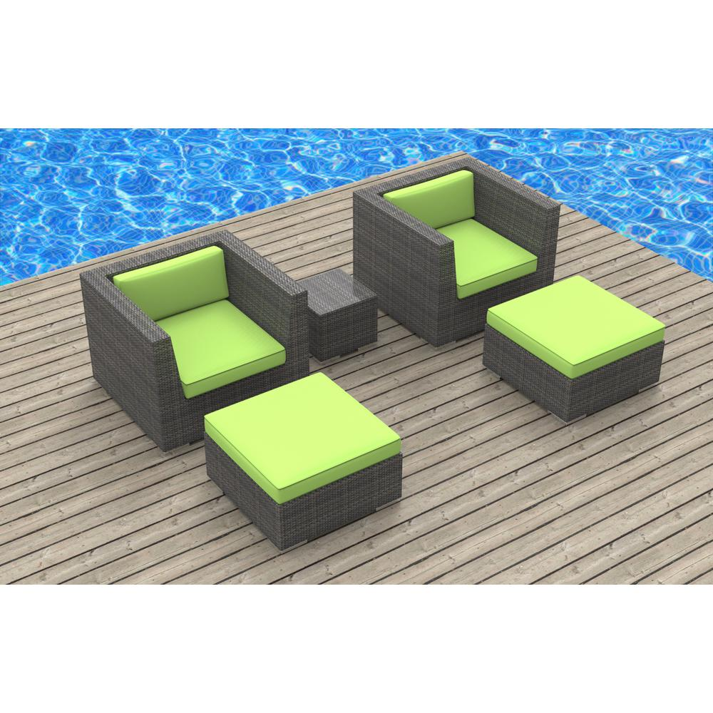 Urban Furnishing Curacao 5 Piece Wicker Outdoor Sectional Seating Set With Lime Green Cushions