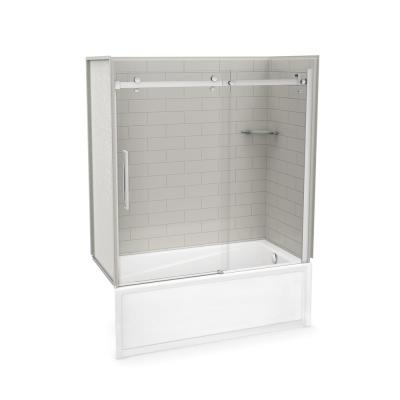 Utile Metro 30 in. x 59.8 in. x 81.4 in. Right Drain Alcove Bath and Shower Kit in Soft Grey with Chrome Door