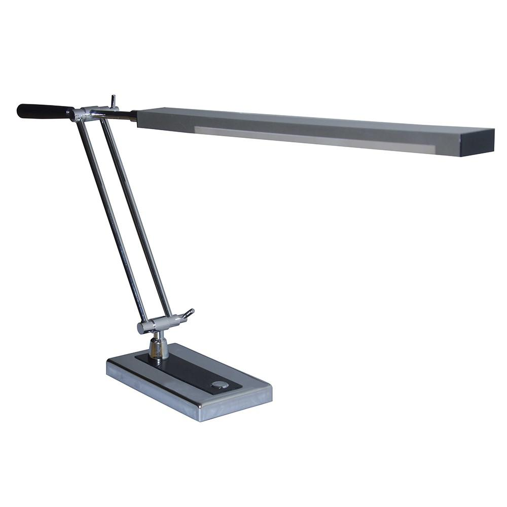 14 in. Gray Swing Arm LED Desk Lamp with USB Charging Port
