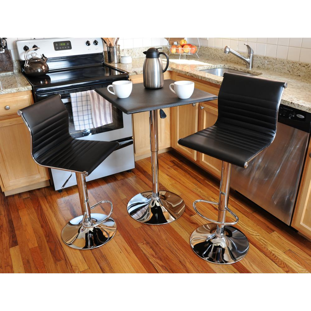 Amerihome Retro Style Bar Table Set In Black With Adjule Height Vinyl And Chairs
