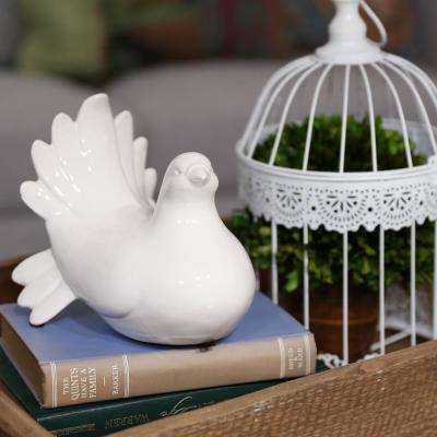 6.5 in. H Pigeon Decorative Figurine in White Gloss Finish