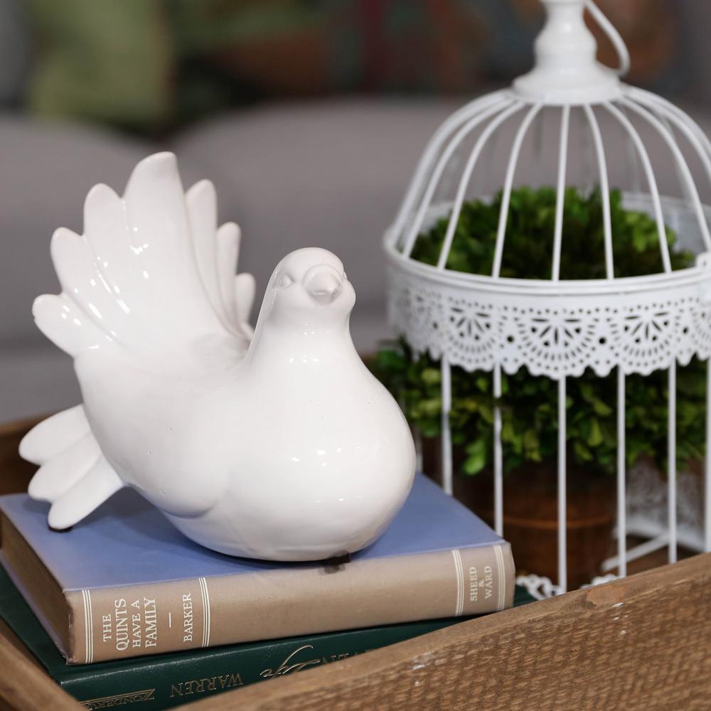 6.5 in. H Pigeon Decorative Figurine in White Gloss Finish
