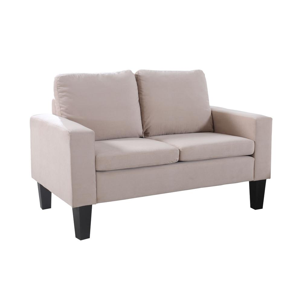 Sarah collection 2 seat beige microfiber loveseat 72013 62be the home depot