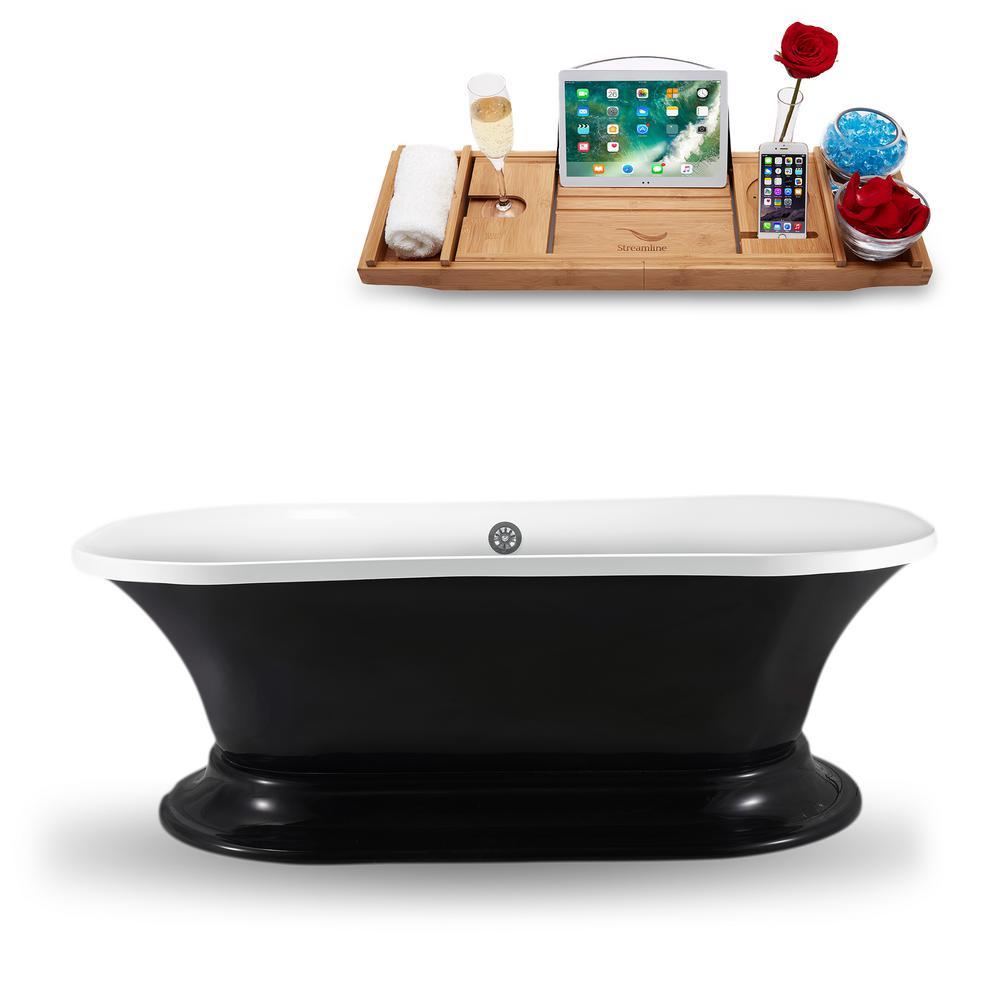 68 in. Acrylic, Fiberglass Flatbottom Non-Whirlpool Bathtub in Glossy Black