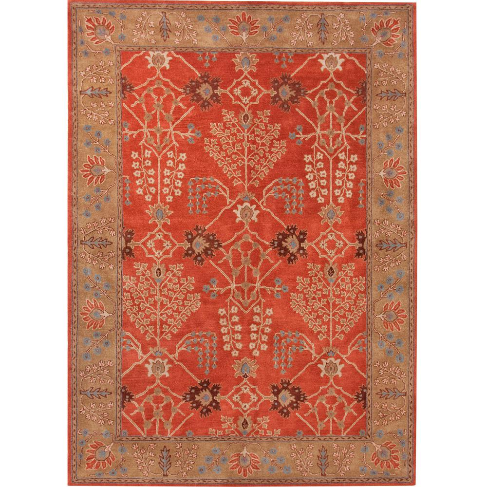 Hand-Tufted Burnt Ochre 4 ft. x 6 ft. Oriental Area Rug