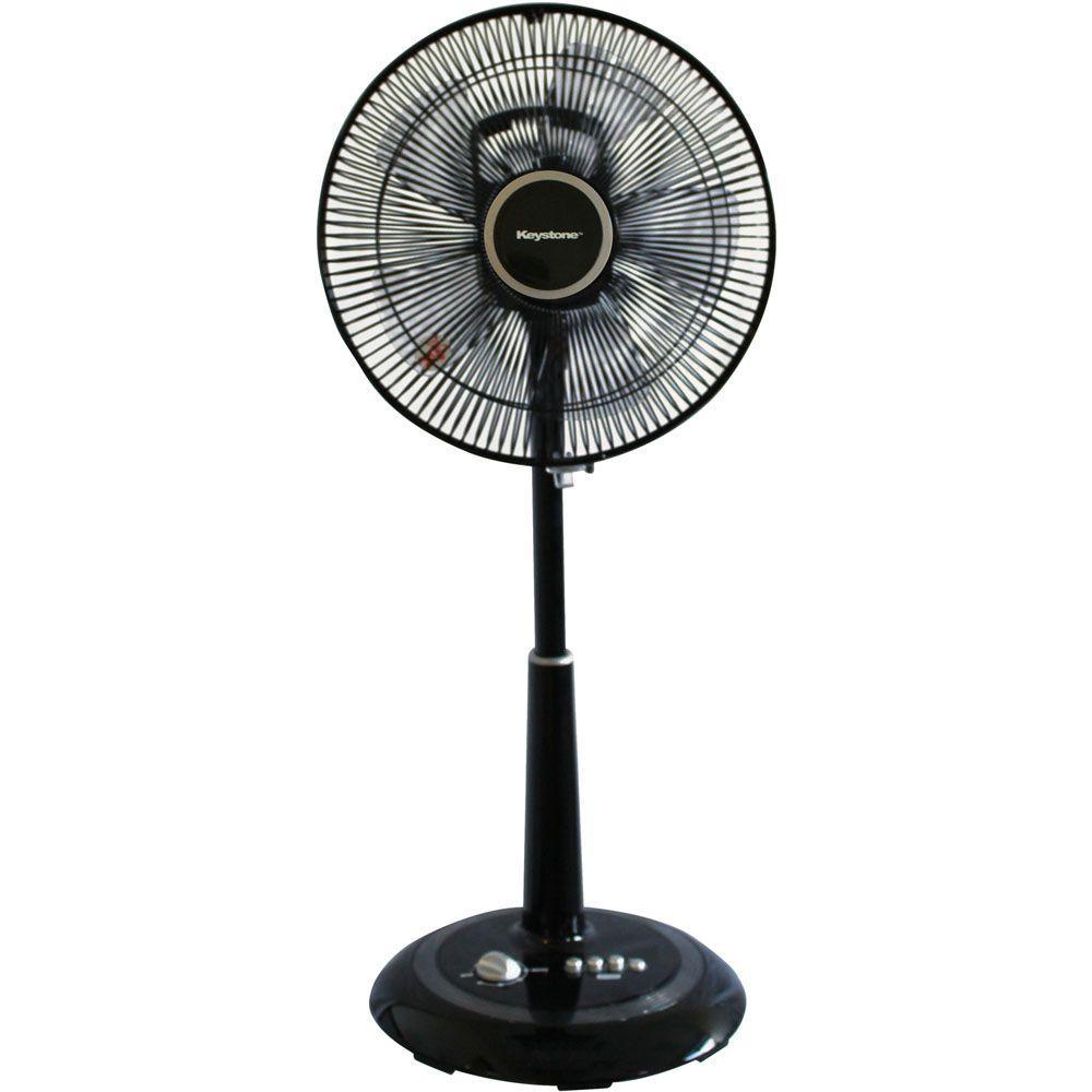 12 in. Oscillating Pedestal Fan in Black