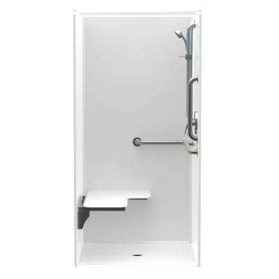 Accessible AcrylX 36 in. x 36 in. x 75 in. 1-Piece ANSI Shower Stall w/ Left Seat and Grab Bars in White