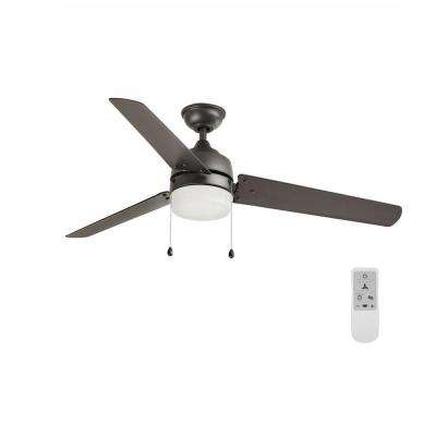 Carrington 60 in. LED Natural Iron Ceiling Fan with Light and Remote Control works with Google and Alexa