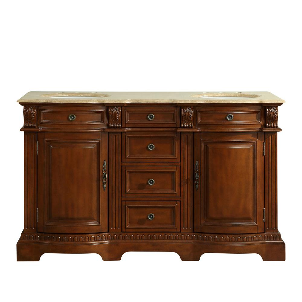 Silkroad Exclusive 58 in. W x 22 in. D Vanity in Brazilian Rosewood with Stone Vanity Top in Travertine with White Basin